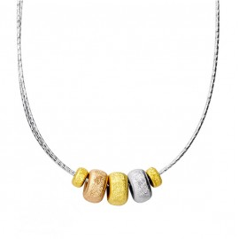 ITALIAN JEWELRY-NECKLACE WITH TRI-COLOR PENDANTS